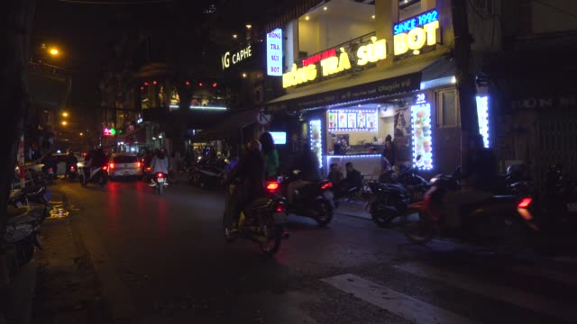 hanoi old quarter at night full of bars and cafes. hoan kiem old town district - traditionally vietnamese stock videos & royalty-free footage