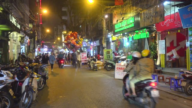hanoi old quarter nightlife. hoan kiem old town district - hanoi stock videos and b-roll footage