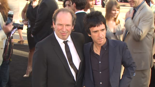 hans zimmer johnny marr at the 'inception' premiere at hollywood ca - ジョニー マー点の映像素材/bロール