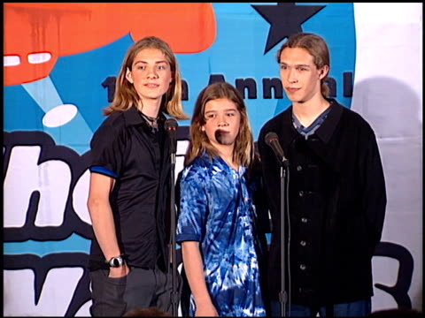 hanson at the 1998 nickelodeon kids' choice awards at ucla in westwood, california on april 4, 1998. - nickelodeon stock videos & royalty-free footage