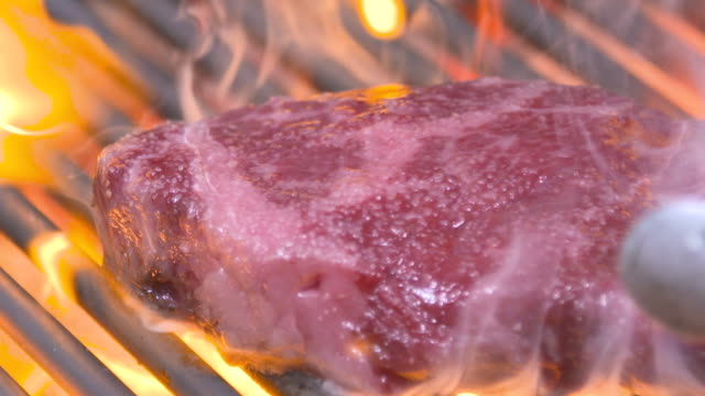 hanwoo (korean native cattle) sirloin steak being broiled on grill rack - beef cattle stock videos & royalty-free footage