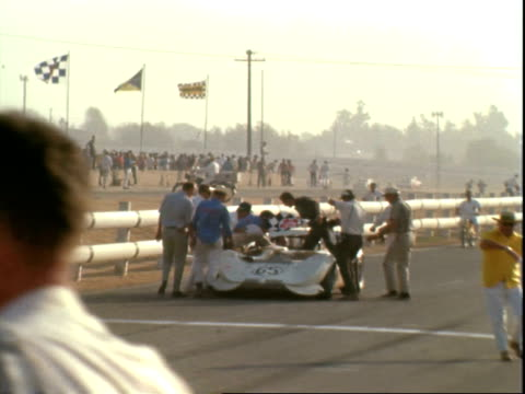 hap sharp racing chaparral 2c jim clark racing lotus 40 ford unidentified driver racing canam unidentified driver racing canam all crossing finish... - riverside california stock videos and b-roll footage