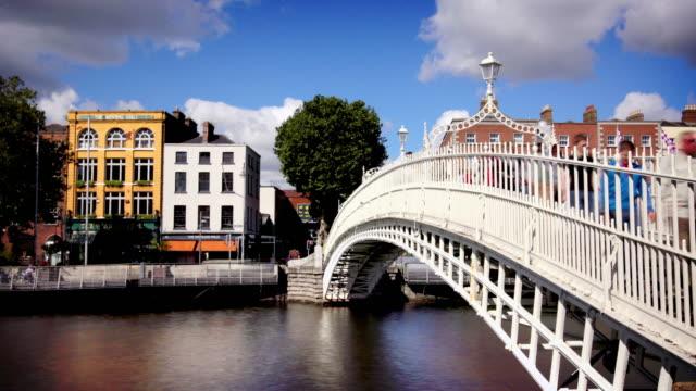 ha'penny bridge, dublin, ireland - dublin ireland stock videos and b-roll footage
