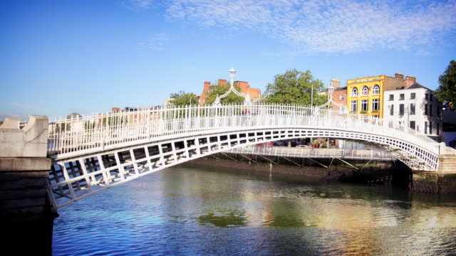 ha'penny bridge, dublin, ireland - republic of ireland stock videos & royalty-free footage
