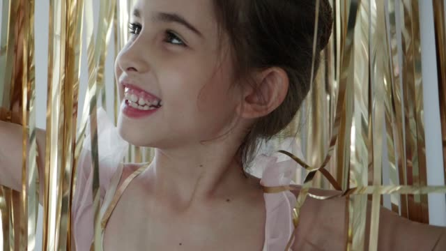 happiness of princess with goal party decoration - 8 9 years stock videos & royalty-free footage