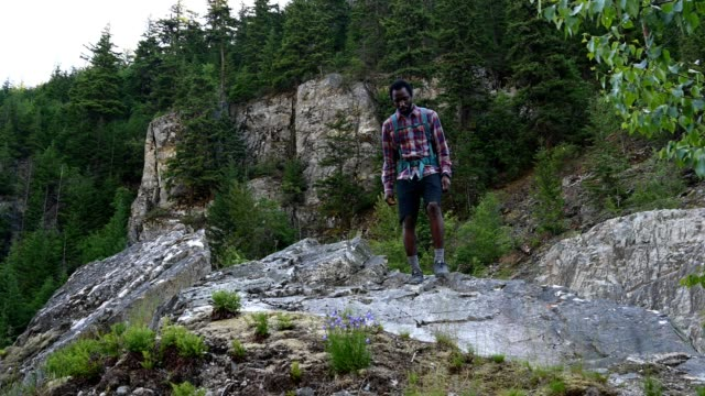 happy african american man in nature - squamish stock videos & royalty-free footage