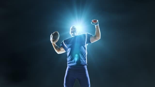 Happy American football player