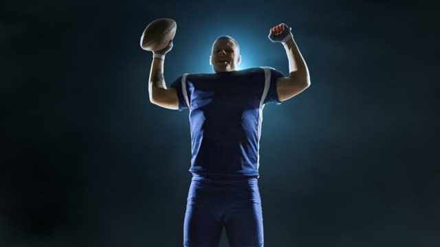 Happy American football player