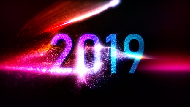 2019 happy and creative new year loopable background - 2019 stock videos and b-roll footage