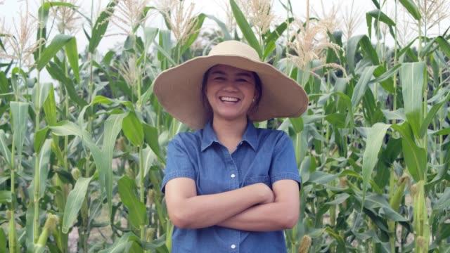 タイの日没の間に作物畑で笑っている幸せで誇り高い女性農家 - 収穫する点の映像素材/bロール