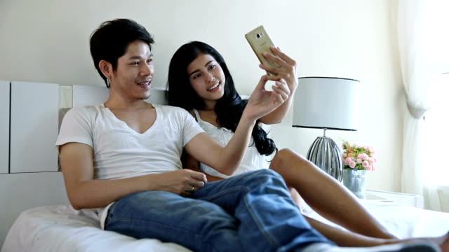 Happy Asian Couple Selfie