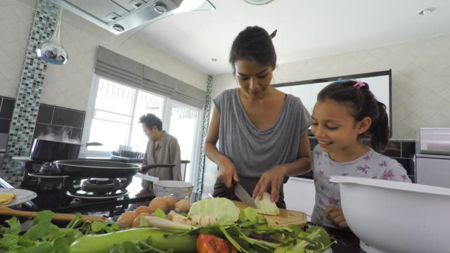 happy asian family cooking together in the kitchen - south east asian ethnicity stock videos and b-roll footage