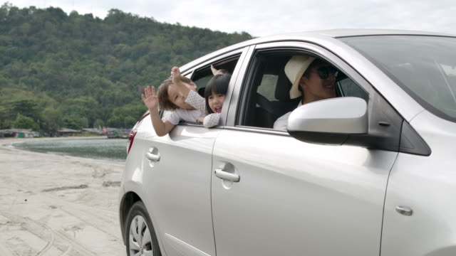happy asian family four people on summer vacation.car travel and holiday concept - anticipation stock videos & royalty-free footage
