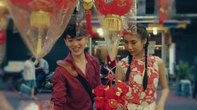 happy attractive loving couple enjoy shopping together - souvenir stock videos & royalty-free footage