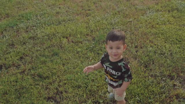 stockvideo's en b-roll-footage met gelukkig jongetje op een weide zomer - sunny