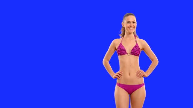 happy beautiful girl in a bathing suit