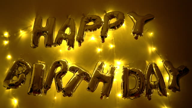 happy birth day balloon and fairy light - birthday stock videos & royalty-free footage