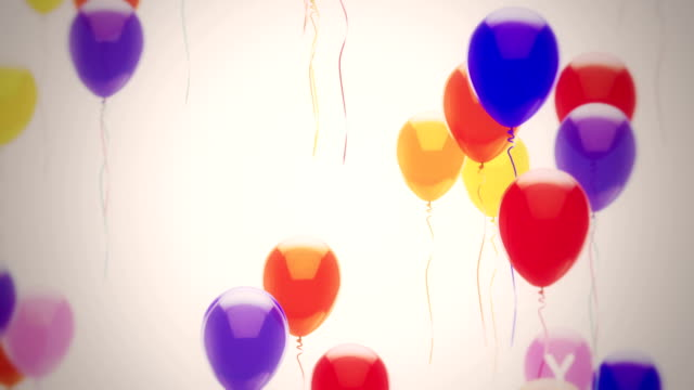 happy birthday balloons - hot air balloon stock videos & royalty-free footage