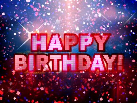 vídeos de stock e filmes b-roll de feliz aniversário comemoração festa! - ponto de exclamação