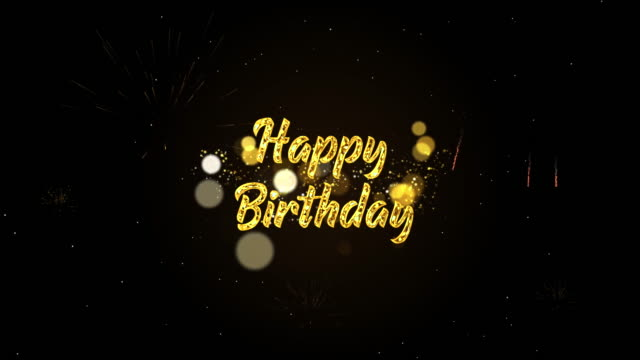 4k happy birthday greeting card, bright magic particles sparks for night celebration, wishes, events, message, holiday, festival - compleanno video stock e b–roll