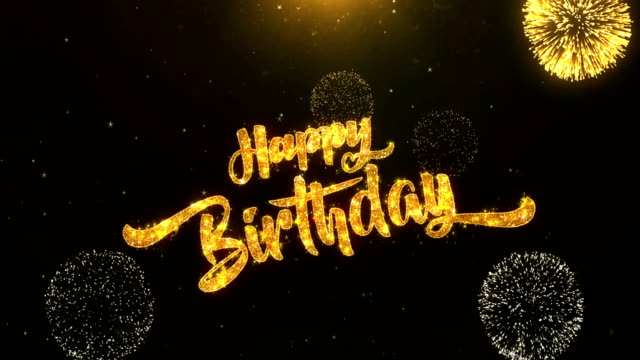 Happy birthday Greeting Card text Reveal from Golden Firework & Crackers on Glitter Shiny Magic Particles Sparks Night for Celebration, Wishes, Events, Message, holiday, festival