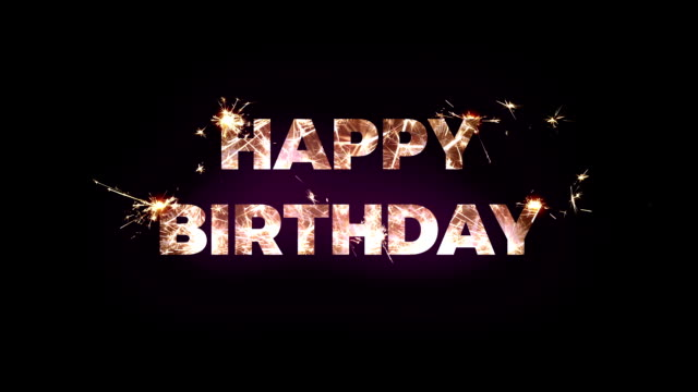 happy birthday text made of bengal lights - compleanno video stock e b–roll
