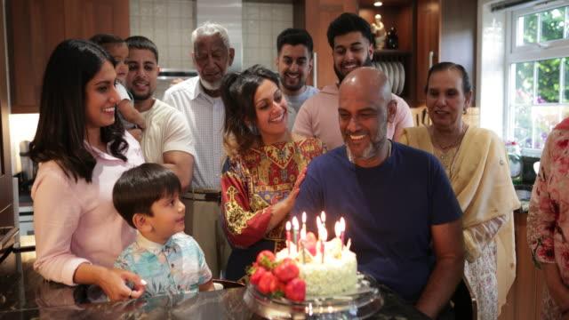 happy birthday to you grandad - multi generation family stock videos & royalty-free footage