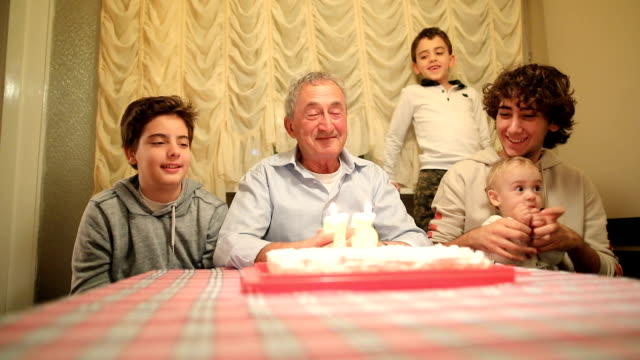 happy birthday.grandpa with her grandsons - number 5 stock videos & royalty-free footage