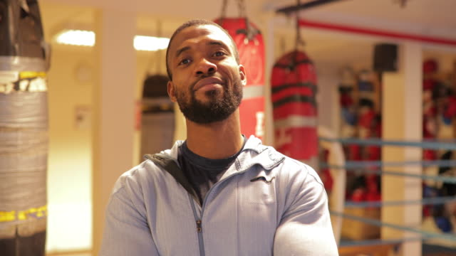 happy black male boxer - fitness instructor stock videos & royalty-free footage