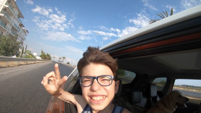happy boy makes a selfie in the car - teenage boys stock videos & royalty-free footage