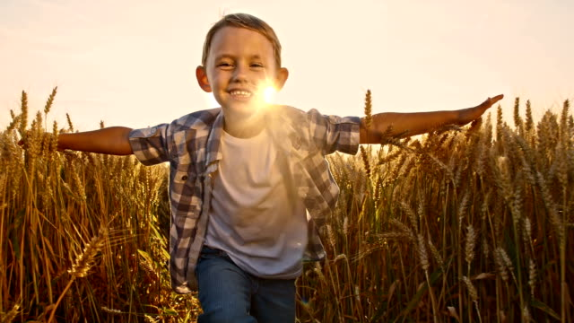 SLO MO Happy boy running in field with arms outstretched