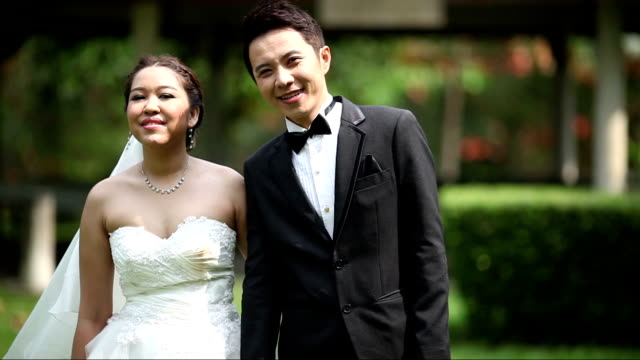 hd: happy bride and groom at wedding dance - bridegroom stock videos and b-roll footage