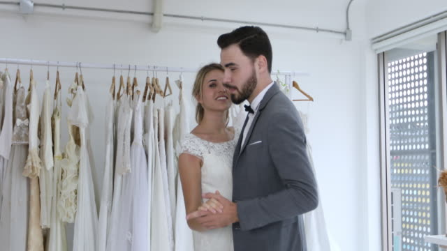 happy bride and groom in wedding dress prepare for married in wedding ceremony and bride and groom dancing together their first dance - vignette stock videos & royalty-free footage
