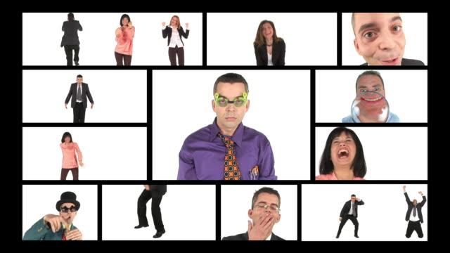 vídeos y material grabado en eventos de stock de hd montaje: feliz las personas de negocios - pantalla dividida