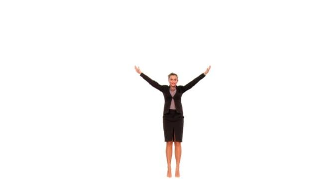 vidéos et rushes de hd ralenti: heureuse femme d'affaires - euphorie