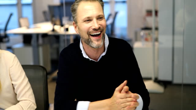happy businessman applauding during meeting - partnership stock videos & royalty-free footage