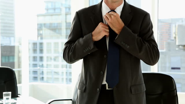happy businessman standing by window - necktie stock videos & royalty-free footage