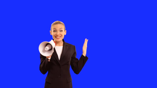happy businesswoman with megaphone - megaphone stock videos & royalty-free footage