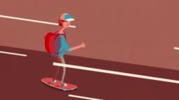 Happy Cool Skateboarder Animation