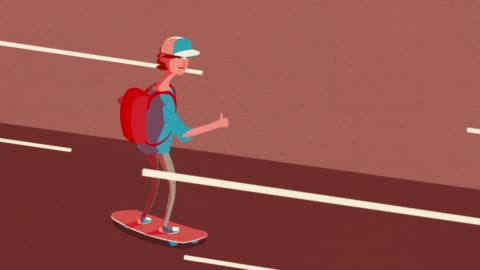 happy cool skateboarder animation - alpha channel stock videos & royalty-free footage