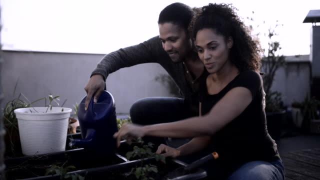 Happy couple doing urban gardening.