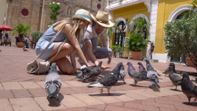 Happy couple feeding pigeons at a town