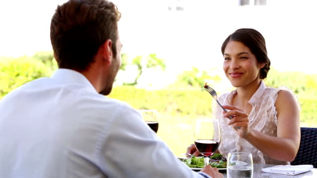 happy couple having a romantic meal together - happy meal stock videos & royalty-free footage