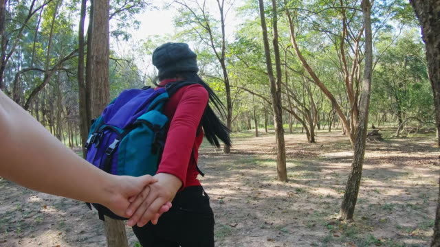 happy couple hikers and exploring the forest natural - rucksack stock videos & royalty-free footage