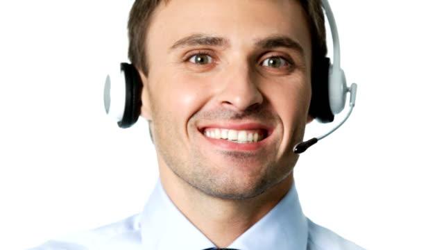 Happy customer support phone operator working, on white