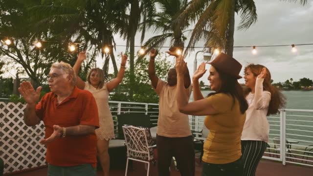 glückliche vielfältige freunde mit einer tollen zeit in einer party - latin american and hispanic ethnicity stock-videos und b-roll-filmmaterial