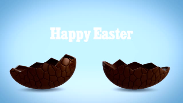 Happy Easter - Chocolate egg cracking, blue BG