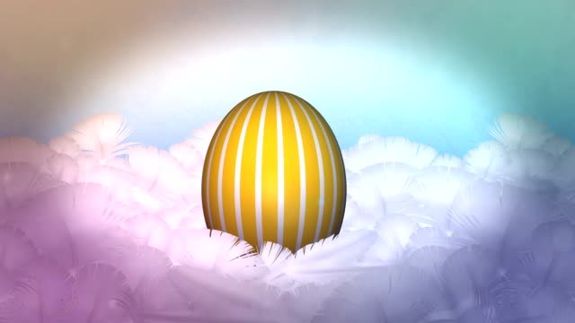 happy easter egg celebration in feather nest background - egg stock videos & royalty-free footage