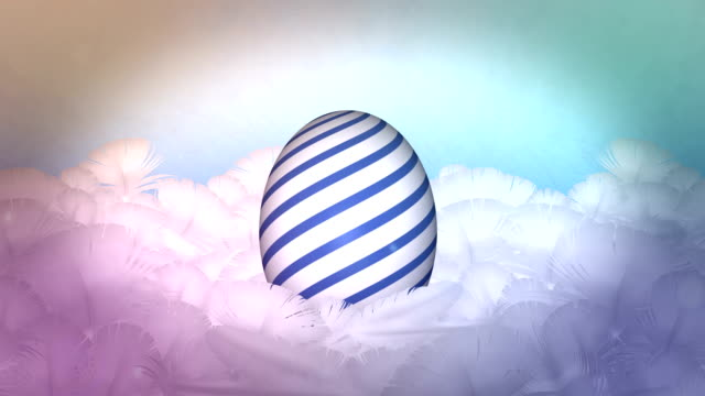 happy easter egg celebration in feather nest background - egg stock videos and b-roll footage
