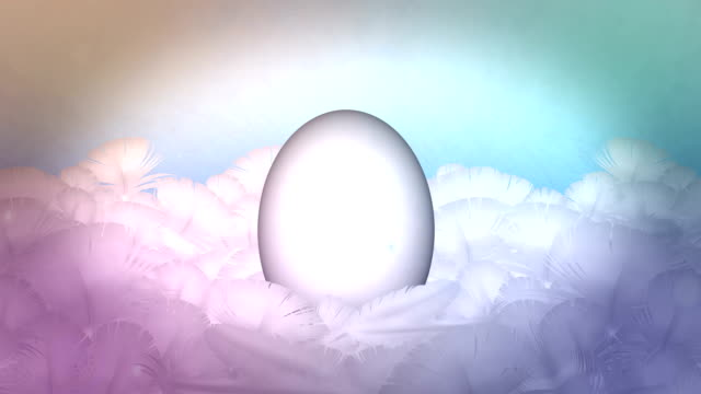 Happy Easter Egg Celebration in feather nest background
